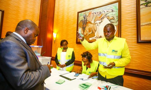 Public Relations Society of Kenya, (PRSK) agents as they supervise counting of votes during the Public Relations Society of Kenya, (PRSK) AGM at Serena Hotel.