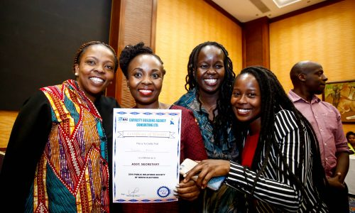 From left, Lilian Nganda, Public Relations Society of Kenya, (PRSK) Secretary, Vivienne Atieno as the new Assistant Secretary of Public Relations Society of Kenya, (PRSK), Beverly Naliaka and Angela Bor, members of PRSK during the Public Relations Society of Kenya, (PRSK) AGM at Serena Hotel.