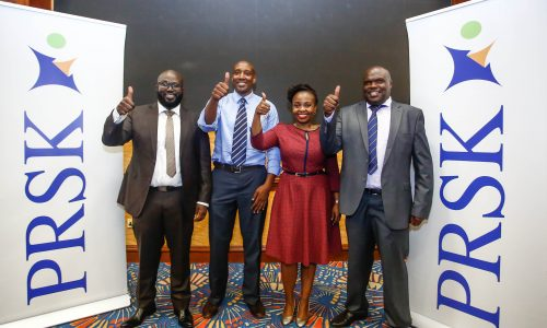 From left, the newly elected leaders of Public Relations Society of Kenya, (PRSK); Arik Karani, the new treasurer of (PRSK), Wilfred Marube, (R), the new President of (PRSK), Vivienne Atieno as the new Assistant Secretary of (PRSK) and Mbugua Njoroge, (R), as the new Vice President of (PRSK).