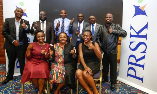 The newly elected leaders of Public Relations Society of Kenya, (PRSK) with the outgoing leaders of PRSK during the Public Relations Society of Kenya, (PRSK) AGM at Serena Hotel.
