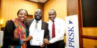 From left, Lilian Nganda, Public Relations Society of Kenya, (PRSK) secretary, Arik Karani, the new treasurer of Public Relations Society of Kenya, (PRSK) and Keeth Murithi, PRSK member during the Public Relations Society of Kenya, (PRSK) AGM at Serena Hotel.