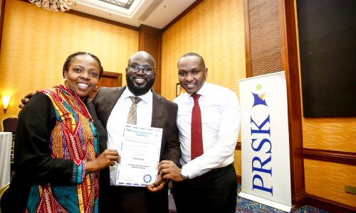 From left, Lilian Nganda, Public Relations Society of Kenya, (PRSK) secretary, Arik Karani, the new treasurer of Public Relations Society of Kenya, (PRSK) and Keeth Murithi, PRSK member during the Public Relations Society of Kenya, (PRSK) AGM at Serena Hotel.